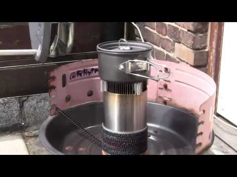 Woodgas stove using bio-ethanol with a 1 gram metal insert (DIY Project)