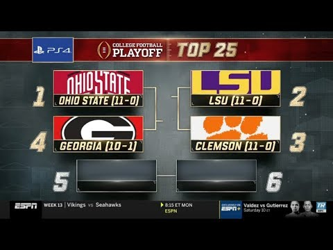 College Football Playoff: Top 25   (November 26th, 2019)