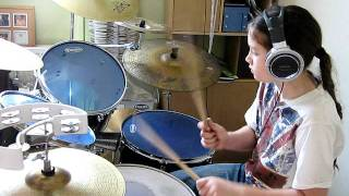 10 year old drummer girl laying down a groove :-) aug 2011.AVI