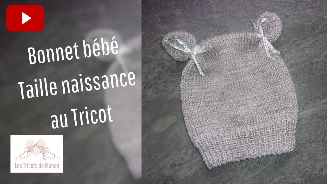 35ae95bb4c24 Bonnet taille naissance au tricot - YouTube