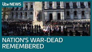 Live: Remembrance Sunday commemorated at Cenotaph | ITV News