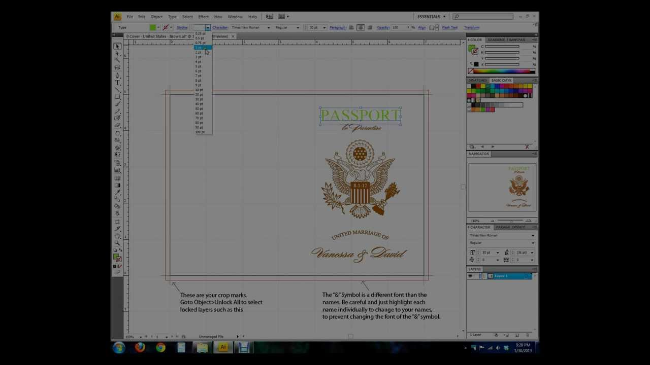 Vanessa S Destination Wedding Invitations Intro To Adobe Illustrator Passport Template Youtube