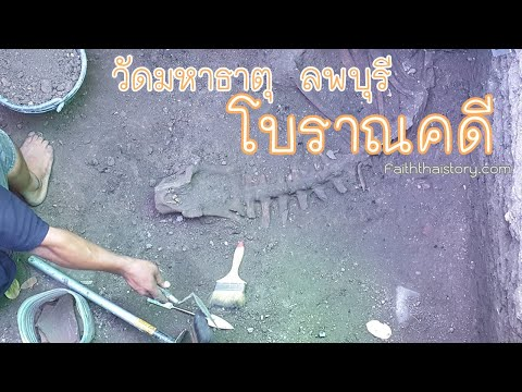 ขุดสำรวจทางโบราณคดี ประเมินอายุชั้นดินแต่ละยุคสมัย วัดมหาธาตุ ลพบุรี