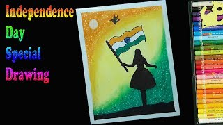 Independence Day drawing for beginners with Oil Pastels - step by step |