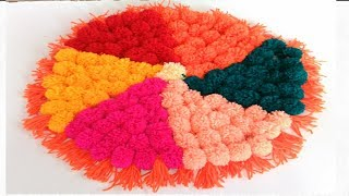 how to make pom pom rug table mat carpet doormat home decor ideas