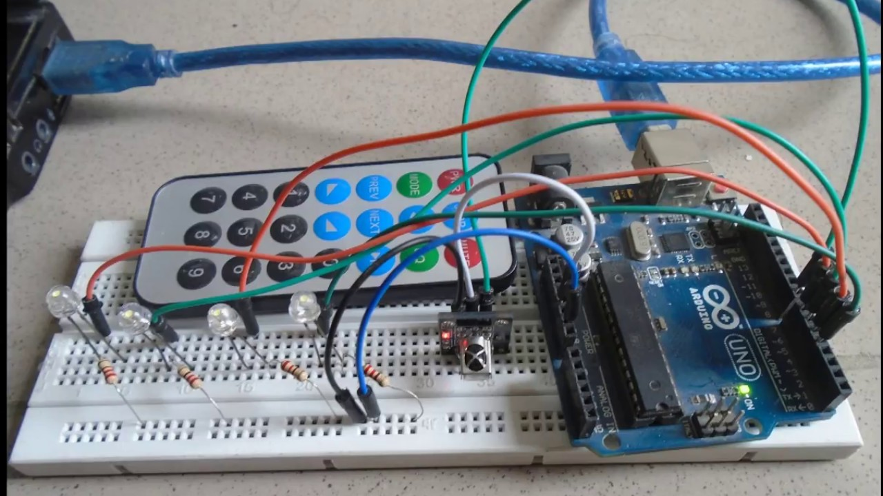 controlling leds using remote control arduino project