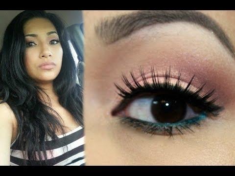 Makeup Monday Rose Gold Eyeshadow & Aqua Eyeliner - YouTube