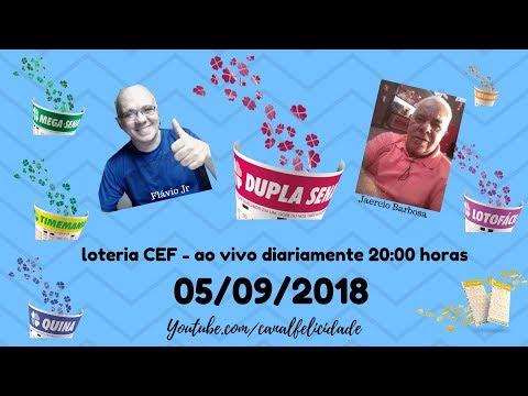 Resultados 05/09/2019 - ao vivo - QUINA - DIA DE SORTE - TIMEMANIA - DUPLA SENA