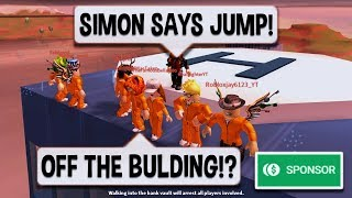 Roblox Jailbreak CRAZIEST SIMON SAYS EVER | $10 ROBUX CARD PRIZE | SPONSOR | NEW ESCAPE UPDATE