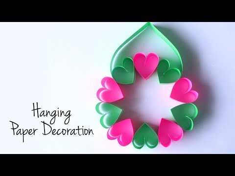 Valentines Heart Wreath| Hanging Paper Decorations | DIY Crafts with Paper