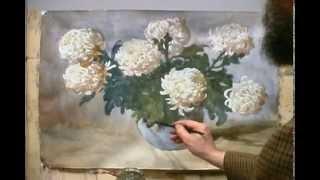 Цветы акварелью 02   Рисуем Белые Хризантемы Акварель Андрияка С Н