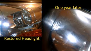 Sylvania Headlight restoration long term update - one year later