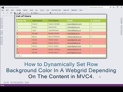 How to Dynamically set row background color in a webgrid depending on the content in MVC4.