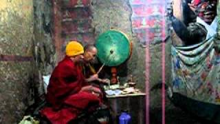 thiksey, puja by two monks