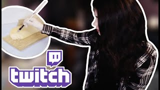 Twitch breadcast of Evelyn Painting a Bag-gette