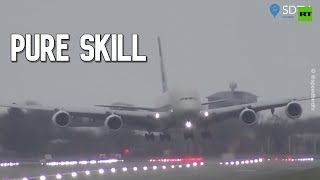 Almost vertical landing at Heathrow airport amid Storm Dennis