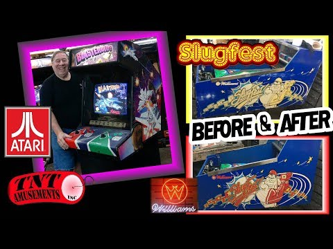 #1387 Atari BLASTEROIDS Arcade Video Game & SLUGFEST Gets New Side Paint-TNT Amusements