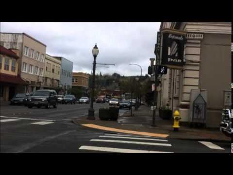Walking Around Downtown Aberdeen, WA; Raw Sound, Some Wind Noise; Around Library