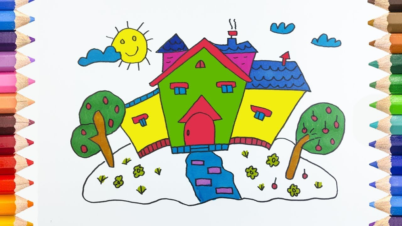 How to Draw House Coloring Pages for Kids Children Learn Colors ...