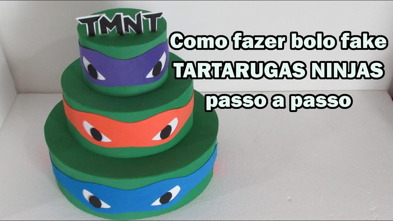 Como Fazer Bolo Fake Tartarugas Ninjas Passo A Passo Youtube