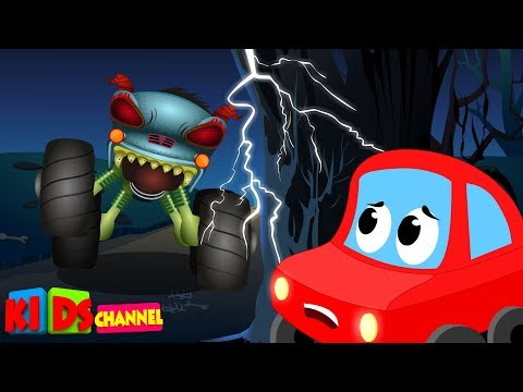 LRC & HHMT | beware of the monster truck | little red car | haunted house monster truck