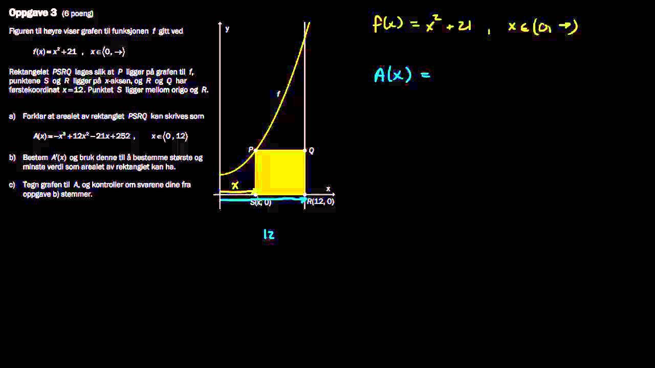R1 eksamen, høst 2013, Del 2 - 3a) Rektangel med variabelt areal