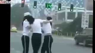 Two Female Chinese Traffic Cops Fight On The Job