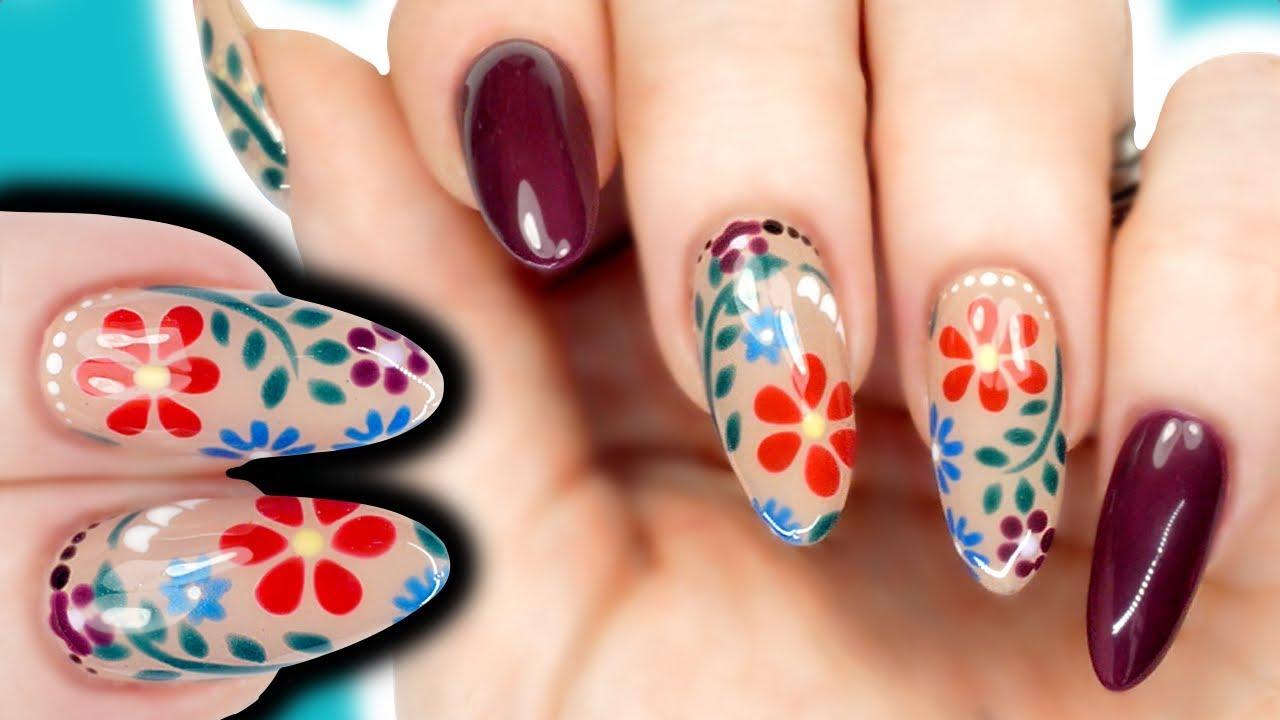 easy stencil flower nail art tutorial