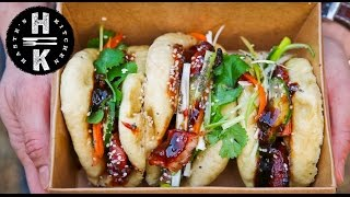 Homemade Steamed bao buns with Chinese sticky pork belly