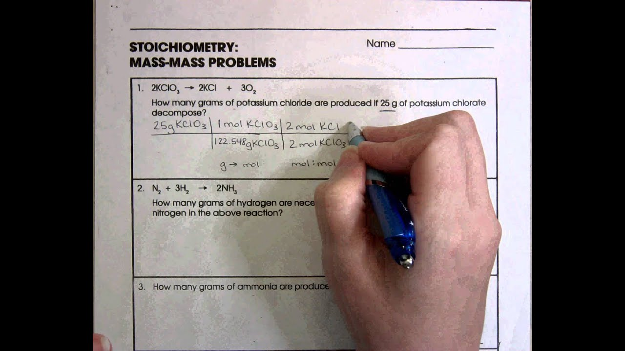 Worksheets Stoichiometry Worksheet With Answers stoichiometry mass problems youtube