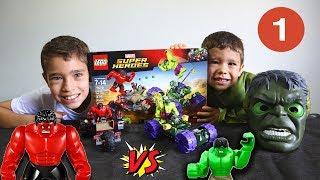 Brincando com Rafael de montar LEGO do HULK VERDE contra HULK VERMELHO | Parte 1