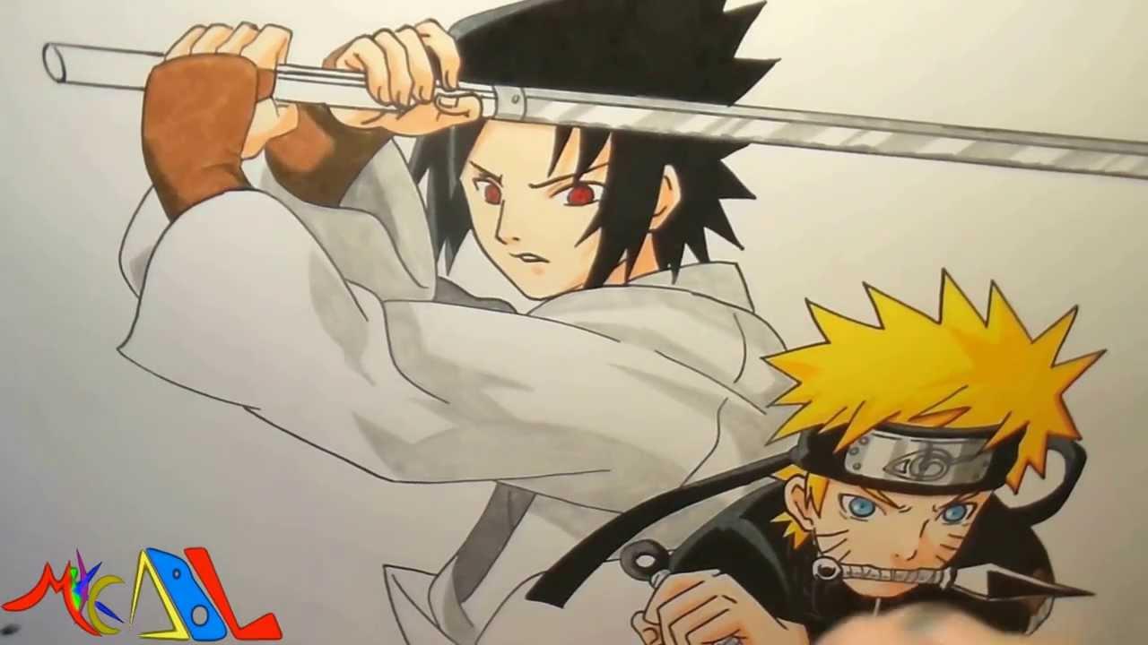 Dibujando a Naruto Vs Sasuke  YouTube