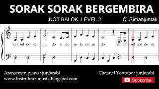 not sorak sorak bergembira - notasi balok level 2 - lagu wajib  - do re mi / sol mi sa si