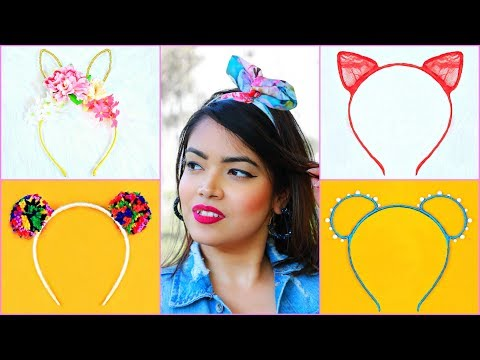 5 DIY Teenagers KITTY Hairbands from WASTE ..   #Bandana #LifeHacks #Hairstyles #Anaysa #DIYQueen