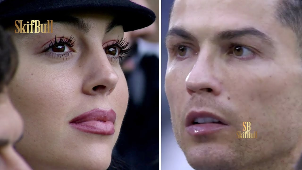 Cristiano Ronaldo and fiancée Georgina during match vs Udinese