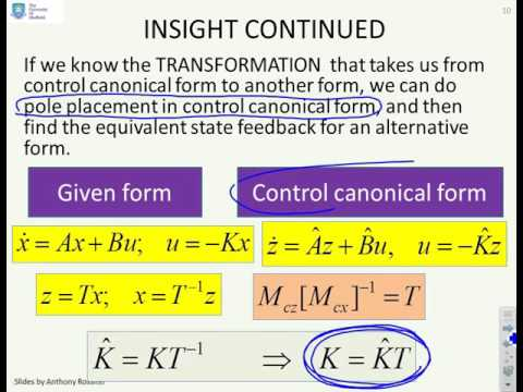 State space feedback 3 - transformation to a canonical form - YouTube