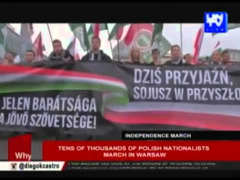 Tens of thousands of Polish nationalists march in Warsaw.