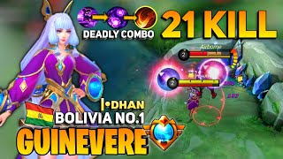 21 KILLS ! Guinevere Instant Kill | Former Top 1 Global Guinevere | By |•ᴅʜᴀɴ | Mobile Legends