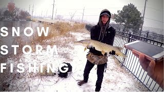 Catching BIG PIKE In A SNOWSTORM!!