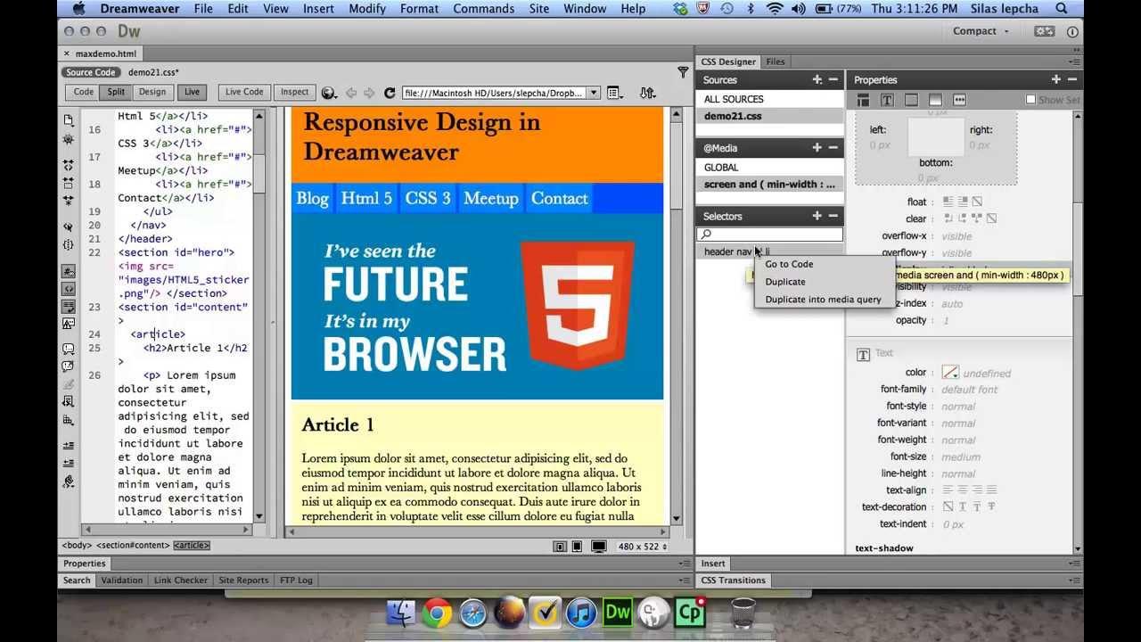 how to design a website using dreamweaver pdf