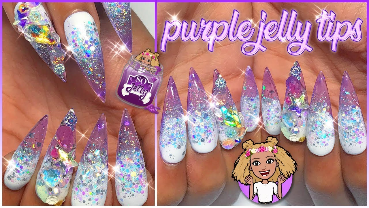 Purple Jelly Tips! Makartt Glitter Glass Press-On PolyGel Nails | How Femi Uses Nail Tab Glue