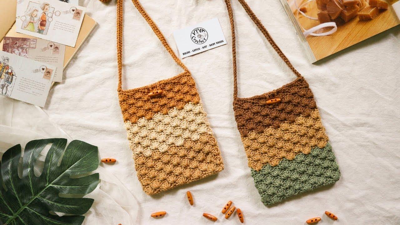 Crochet Bag   Hướng dẫn móc túi đeo chéo họa tiết rẻ quạt   Vyvascrochet