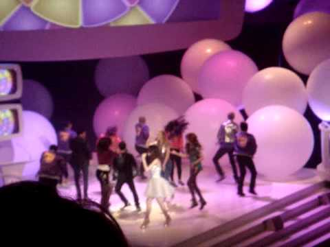 SELENA GOMEZ AND CAST OF SHAKE IT UP LIVE AT DISNEY UP FRONTS