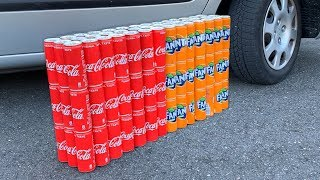 100 Coca Cola Cans vs Fanta vs CAR