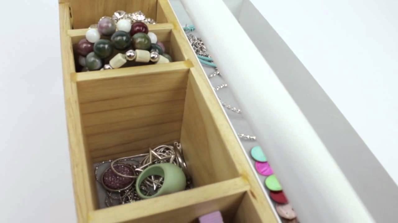 Umbra toto box organizer porta oggetti da ufficio trucchi bagno in legno design youtube - Organizer bagno ...