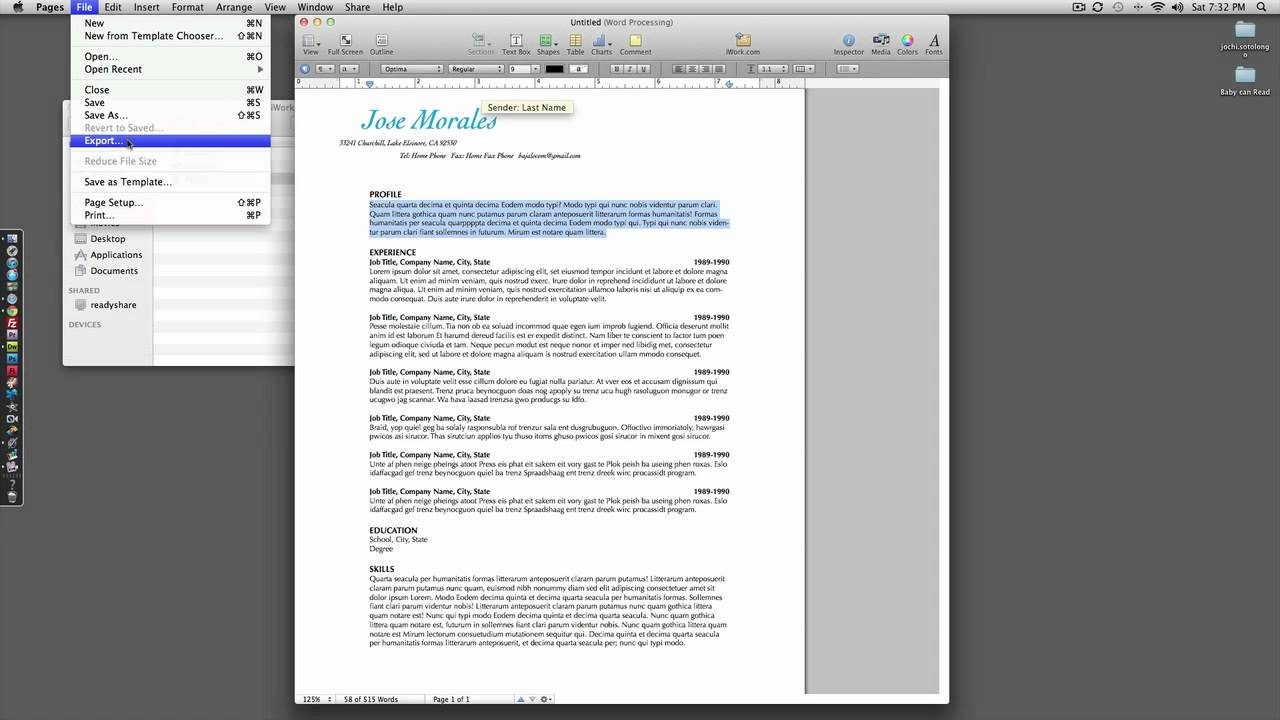 How to: Resume with IWork Pages - YouTube