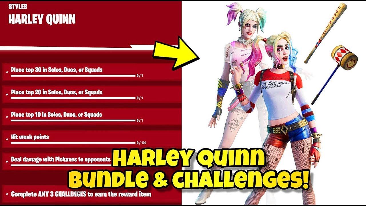 New Harley Quinn Set Challenges Showcase Fortnite Br Harley Hitter Punchline Pickaxes Youtube