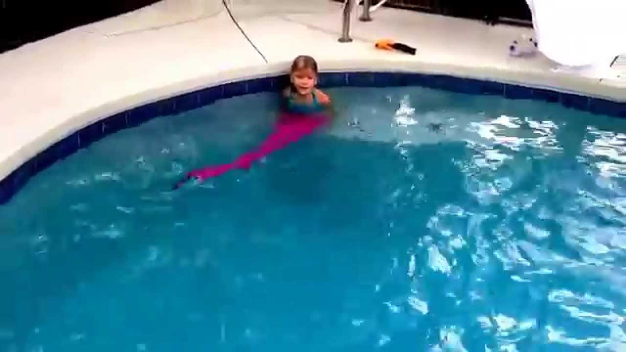 a real mermaid in our swimming pool aerial mermaid fin youtube