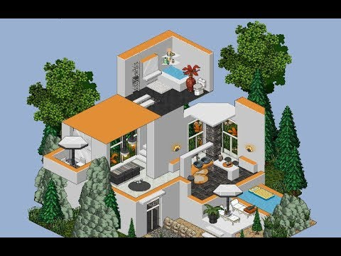 Habbo casa moderna 3 pisos youtube for Casa moderna 7x7