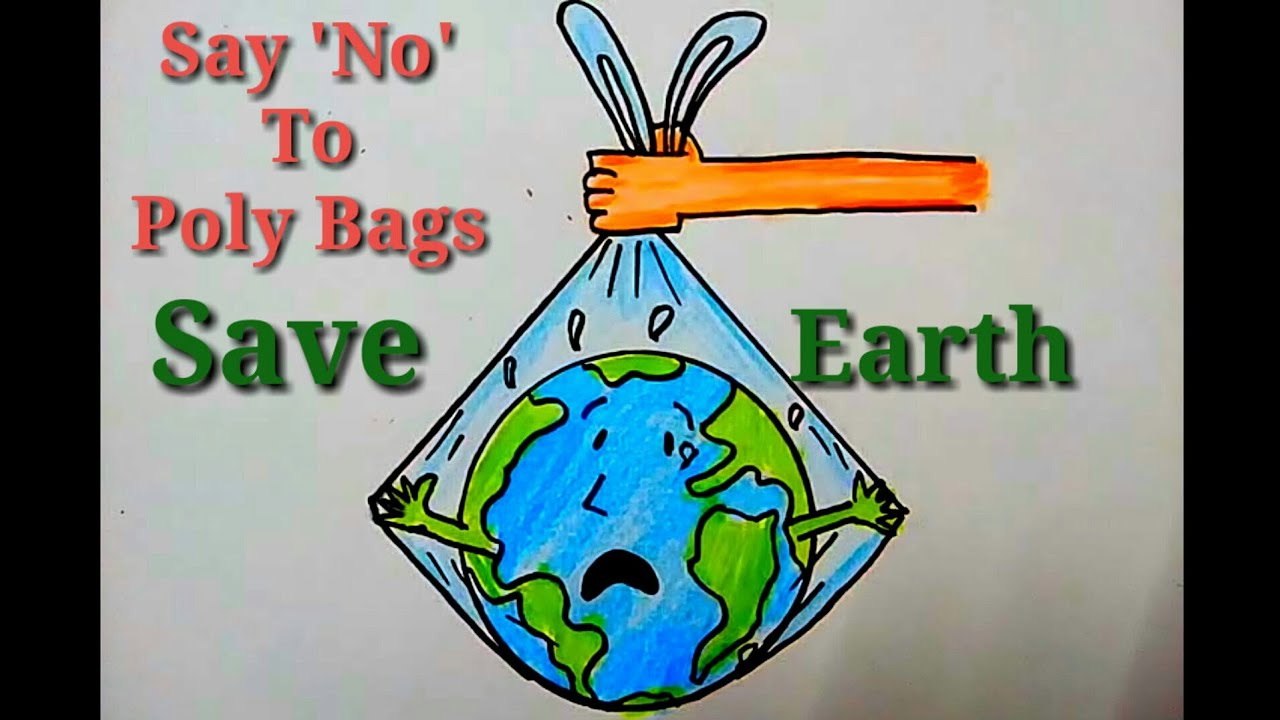 How to draw say no to plastic drawing | save earth save life |Easy drawing for earth day. #1